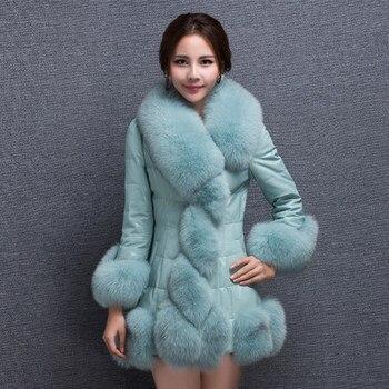 2019  PU patchwork medium-long faux fox fur coat thickening overcoat women's clothing Plus size