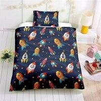 Children Space Rocket Bedding Set Au Eu Us Country Size Single Double Duvet Cover Set Pillowcase Soft Bedclothes Bedding Set