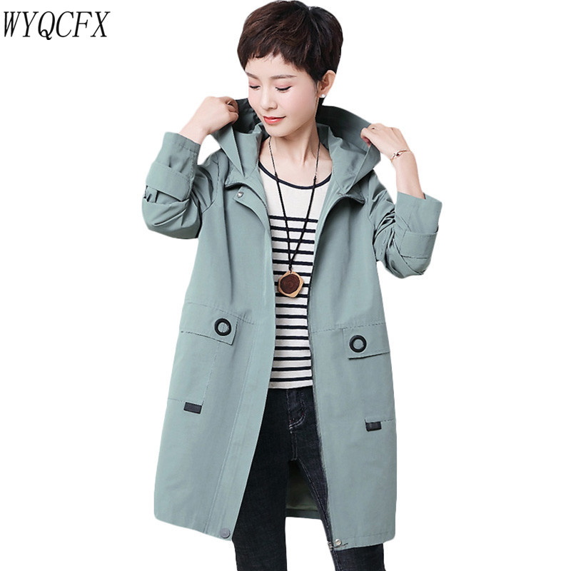 2019 Spring Autumn Long   Trench   Coat Women Fashion Hooded Outerwear Loose Plus Size 4XL Female Overcoat Tops Middle-aged Coats