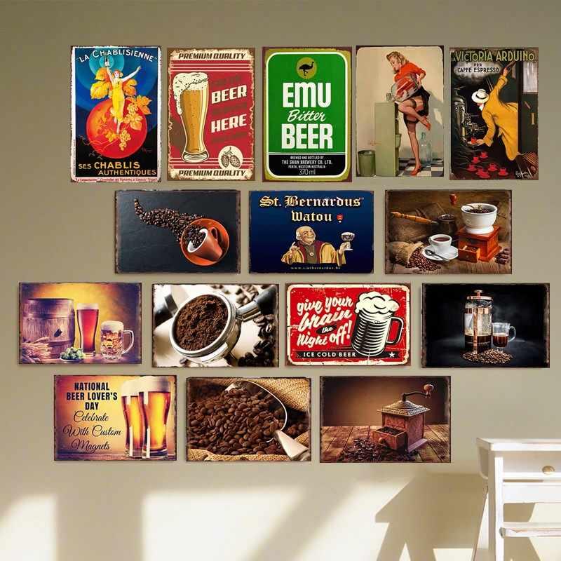 BIA CÀ PHÊ Vintage Tín Hiệu Đại Học Ký Túc Xá Tấm Kim Loại Trang Trí Mảng Bám Poster Cafe Thanh Treo Tường Trang Trí Nhà