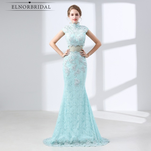 Mint Green Lace Prom Dresses Mermaid 2018 Formal Evening Gowns Long ...