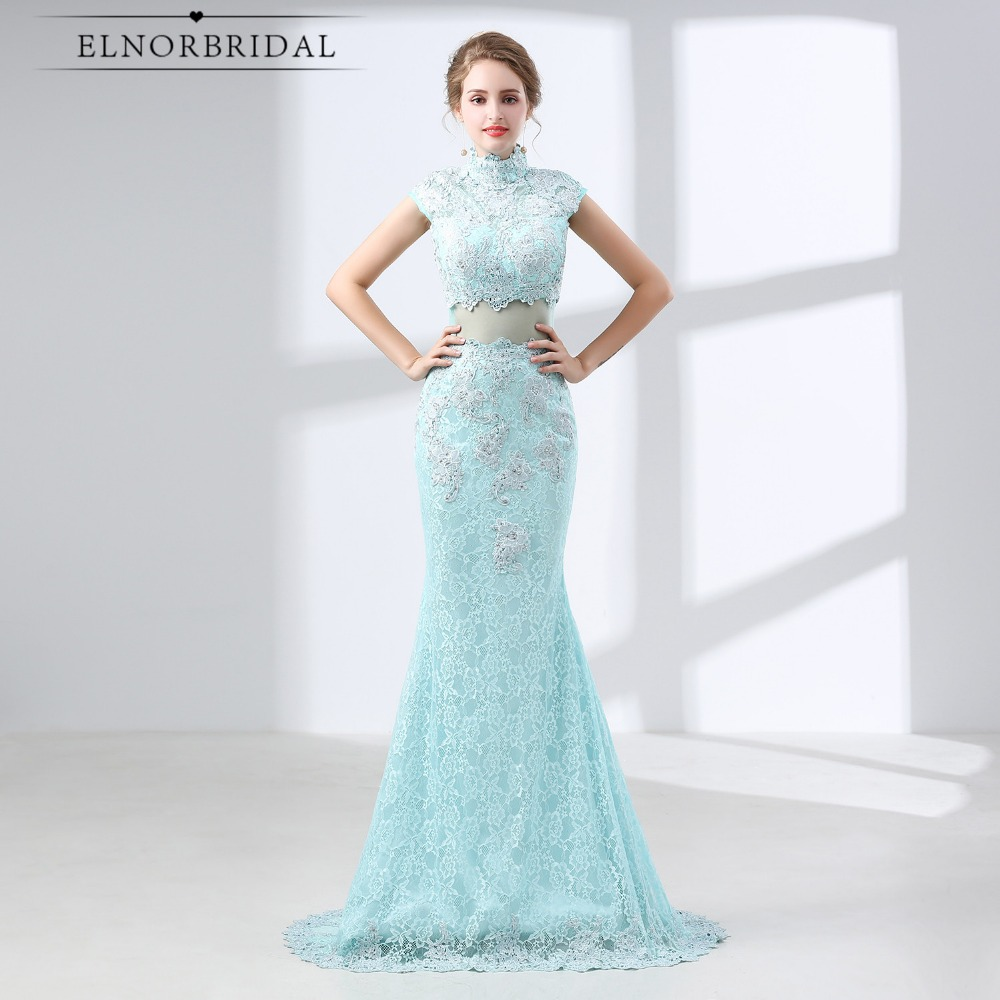 Mint Green Lace   Prom     Dresses   Mermaid 2019 Formal Evening Gowns Long High Neck Vestido Longo Illusion Party Gowns