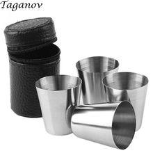 4 pcs /set Whiskey mug wine Tea Coffee Beer Stainless Steel Cup with PU Leather Cover 30ml 1oz 70ml 2.5oz 180ml 6oz camp holiday