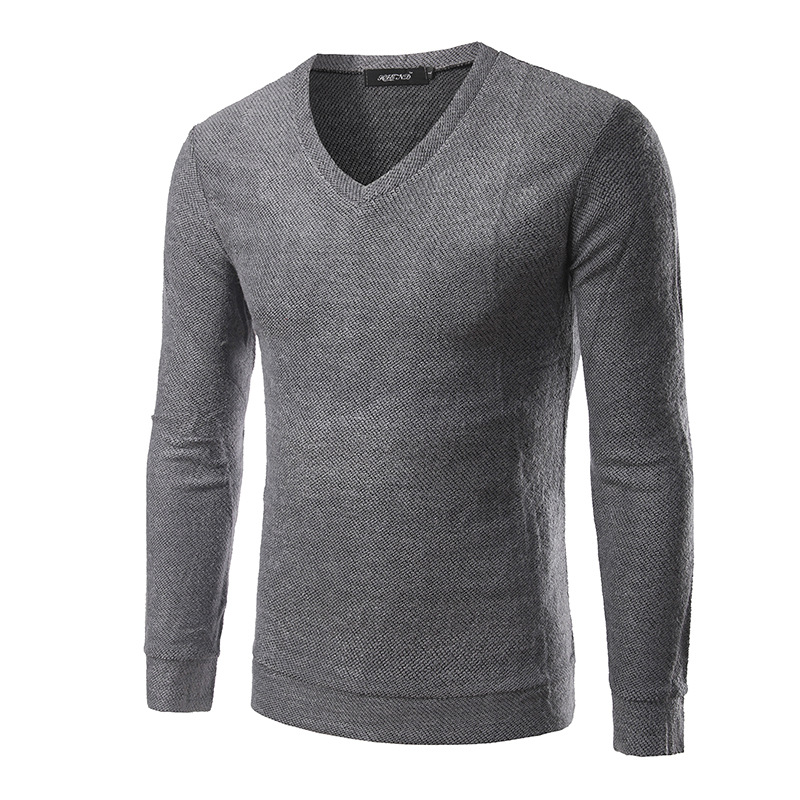 Mens Sweaters Spring Autumn Winter Casual Knitted Pullovers Men V-Neck Male Solid Color Pullover Sweater