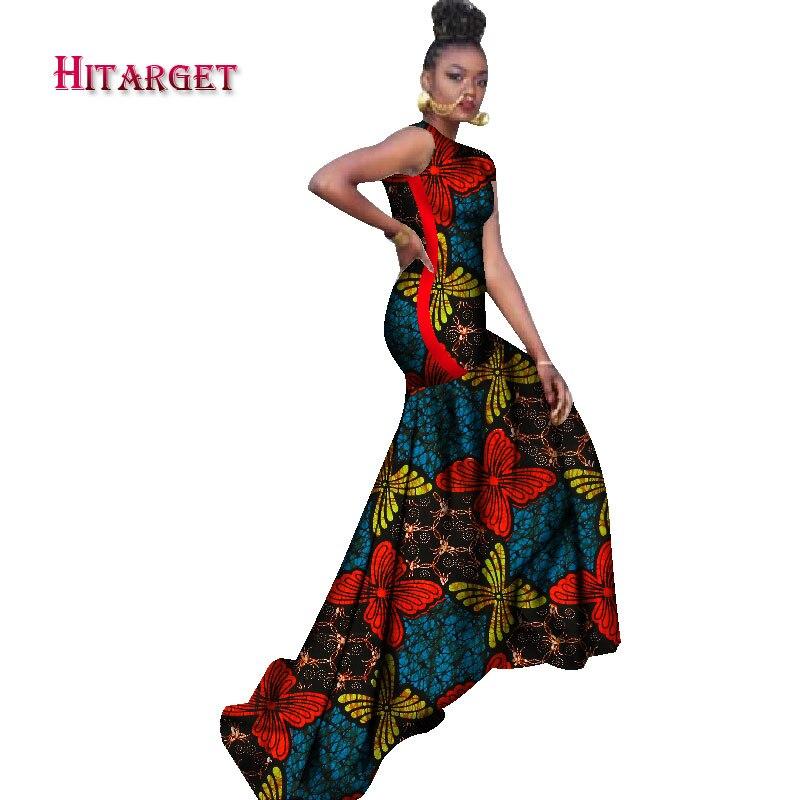 2018 robes africaines pour femmes bazin riche style femme vêtements africains gracieuse dame impression cire grande taille fête longue robe WY1211 - 2