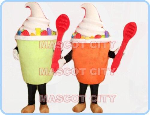 Талисман мороженое Мороженое костюм талисман для взрослых Размер мультфильм Мороженое тема летнего льда рекламы продуктов питания платье