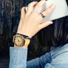 MEIBO Relojes Quartz Men Watches Casual Wooden Color Leather Strap Male Wristwatch Relogio Masculino Ladies Watch female watch