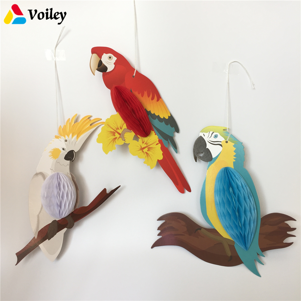 3Pcs/set Rainbow Hanging Honeycomb Parrots Decor Kids Birthday Nursery Classroom Hawaiian Beach Pool Luau Tropical Party Decor,8