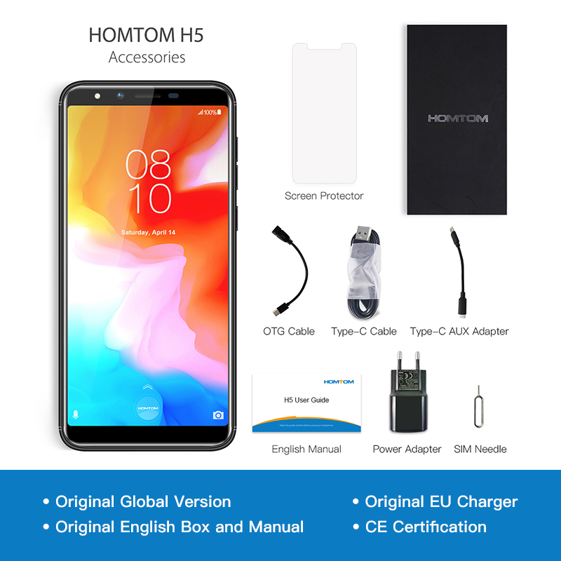 """Image 5 - HOMTOM H5 3GB 32GB Mobile Phone 3300mAh Fast Charge Android8.1 5.7"""" Face ID 13MP Camera MT6739 Quad Core 4G FDD LTE Smartphone-in Cellphones from Cellphones & Telecommunications"""