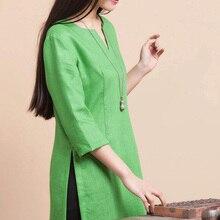 2015 Summer Plus Size Women's Clothing Cotton Linen Blusas High Fork Shirt  Blouses Tops 5xl 6xl