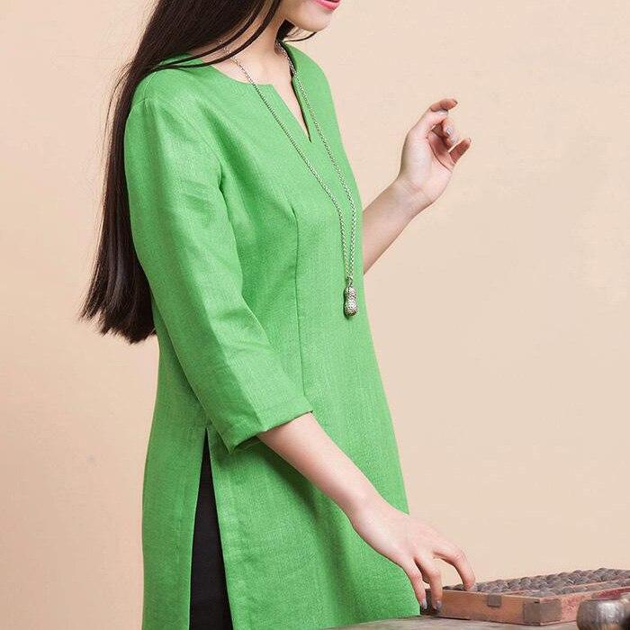 2015 Summer Plus Size Womens Clothing Cotton Linen Blusas High Fork Shirt  Blouses Tops 5xl 6xl