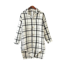 spring new style Europe and the United States plaid casual shirt women, in long section loose thin ladies