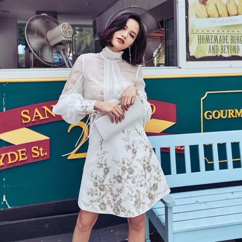 2018 women autumn elegant formal party work bodycon casual vintage runway white chiffon shirt + skirt  2 pieces sets
