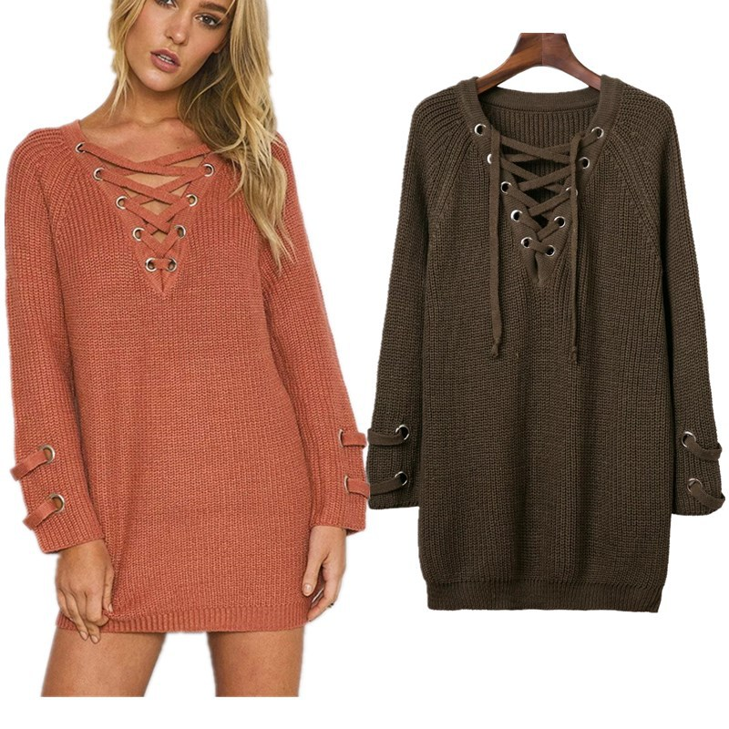 women sweater and pullovers sexy v neck lace up long pull femme oversize sweater jumper autumn