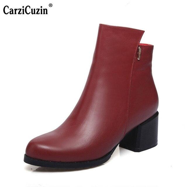 Boyutu 33-44 İngiliz tarzı yüksek topuk yarım çizmeler kadınlar gerçek hakiki deri sonbahar kış sıcak çizme topuklu ayakkabı ayakkabı r8038
