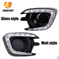 Matt or Gloss style 12v LED CAR DRL Daytime running lights with fog lamp hole for Mitsubishi Pajero Sport 2013 2014 2015