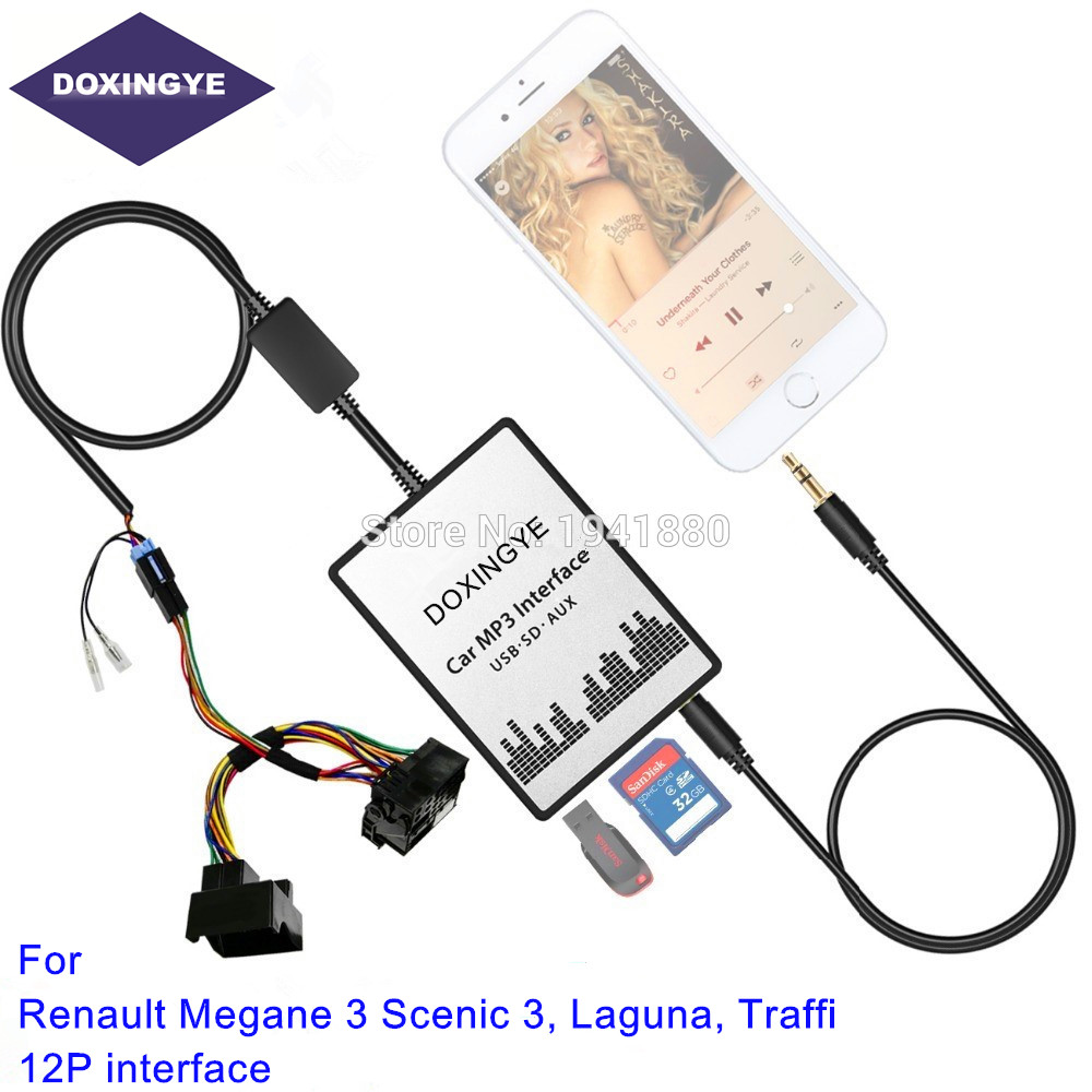 for renault 12pin megane 3 scenic 3 laguna traffic interface usb sd aux car mp3 adapte cd change. Black Bedroom Furniture Sets. Home Design Ideas