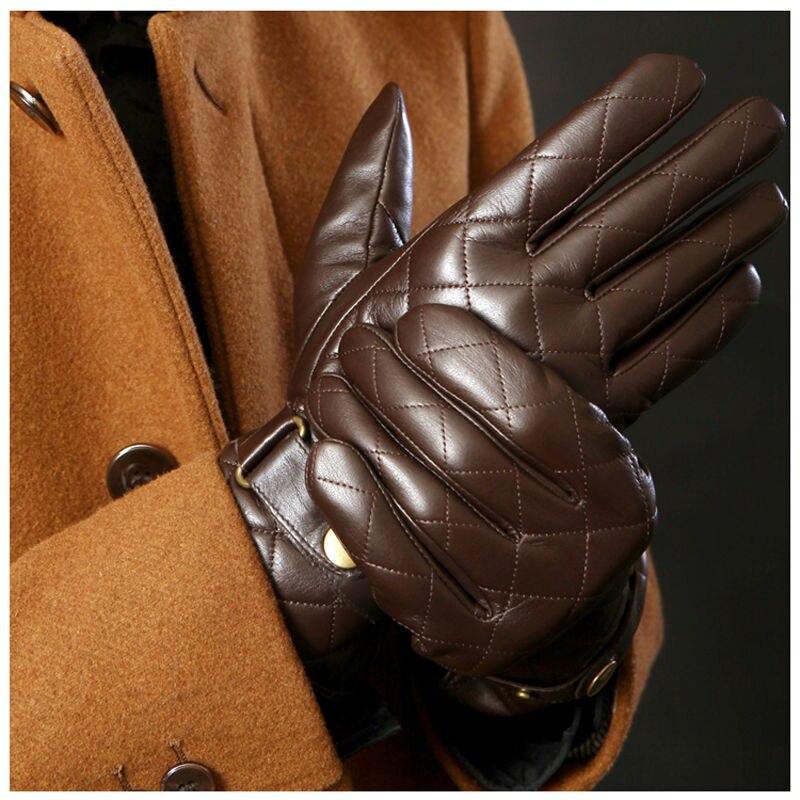 0eeaa810aae6f Deluxe Men Winter Gloves Genuine Leather Gloves Men Brown Black Berber Fleece  Lined Sheep Skin Leather Gloves-in Men's Gloves from Apparel Accessories on  ...