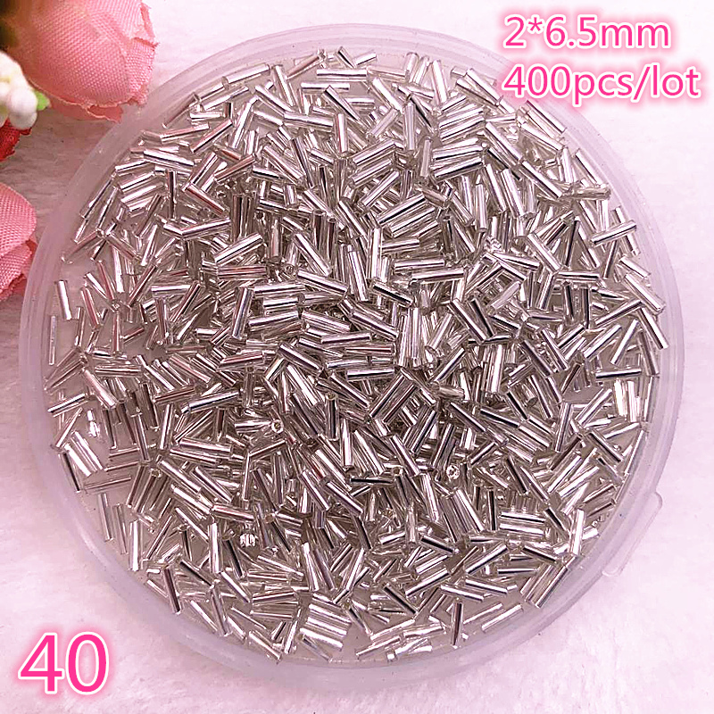 New 2*6.5mm 400pcs/lot Czech Cylindrical Glass Bugle Beads European Seed Long Tube Two Hole Loose Beads For Jewelry Making #40