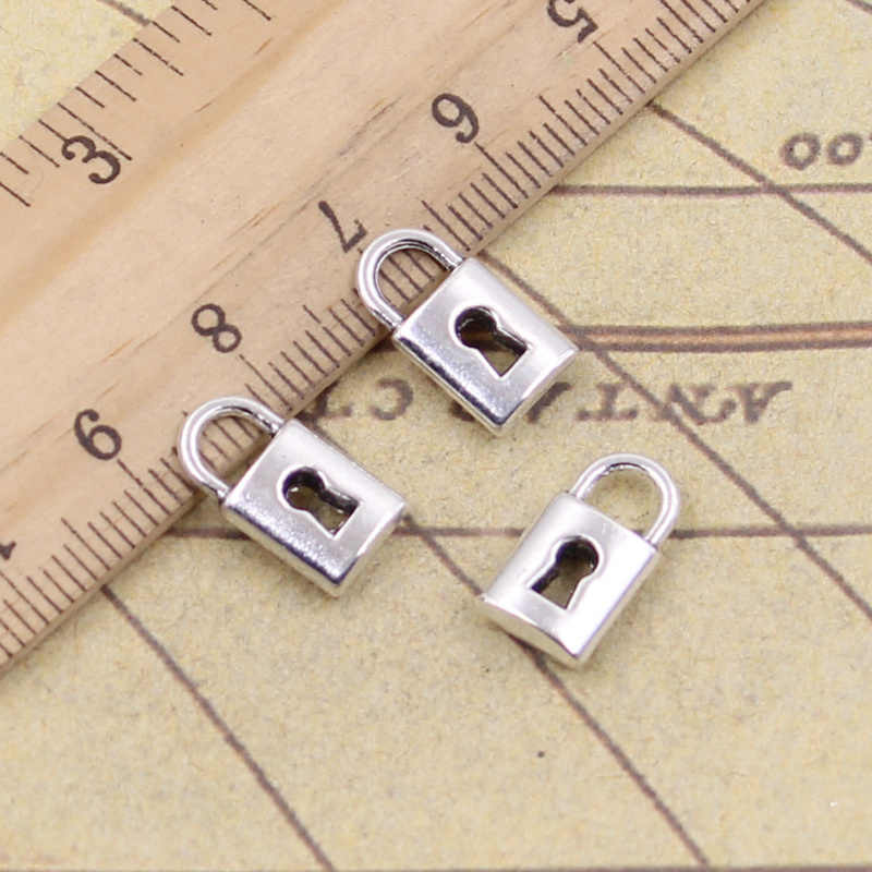 15pcs/lot Charms lock 14x8mm Antique Silver Pendants Making DIY Handmade Tibetan Silver Finding Jewelry for Bracelet