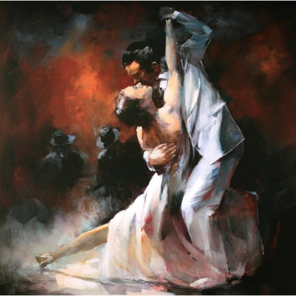 canvas wall art Modern oil paintings Argentina tango in smoky bar Willem Haenraets Canvas 100% handmade High quality Home decor