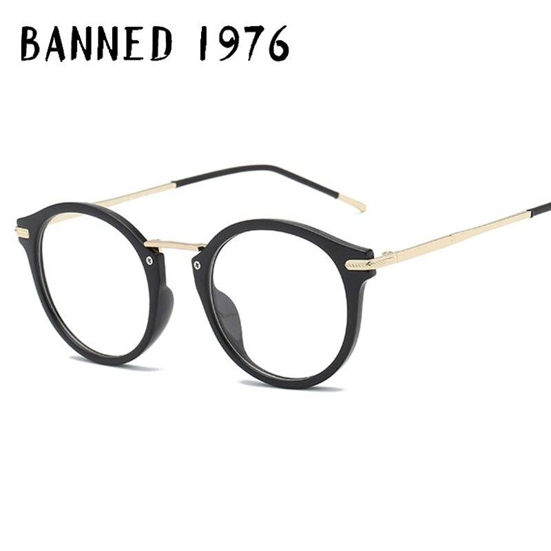 100% Wahr Verboten 1976 Rahmen Runde Metall Frauen Brille Rahmen Männer Frauen Brille Vintage Brille Weibliche Transparent Brillen