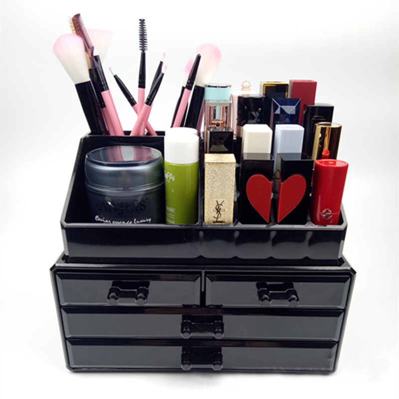 New Arrival Nail Art Storage Case Black Transparent Scissors Polish Jewelry Pen Brushes Box Container Manicure Nail Desktop Tool