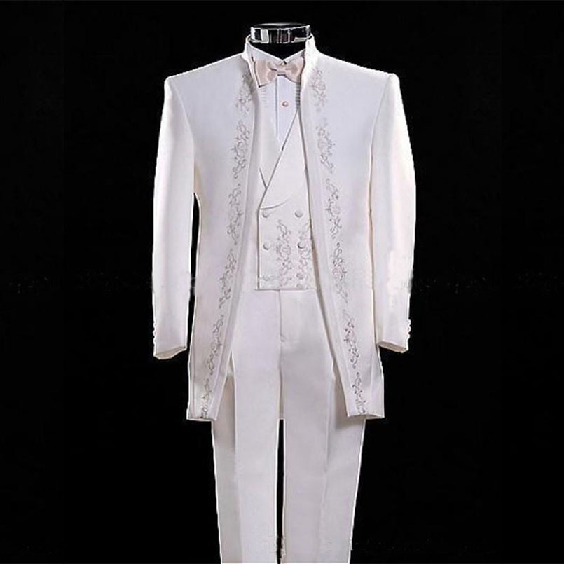 mens designer suits Fashionable men's suit White embroidery of the bridegroom's best man suit ball gown Custom size