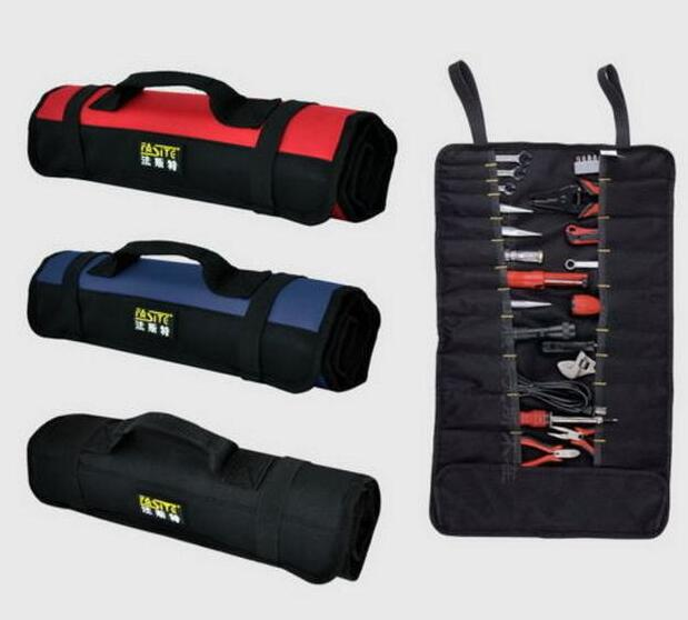 FASITE Electrician Reel Rolling Tool Bag Tool Pouch 21 pockets Organizer blue optical instrument