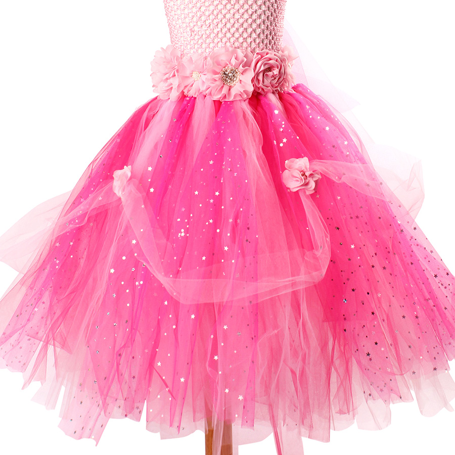 Beautiful Princess Tutu Gown for Weddings Birthday Dress Baby Girl Flower Tutu Dress Glittery Children Fancy Party Christmas Costumes (3)