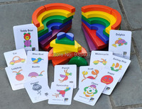 New wooden toy Rainbow Blocks circle set match a picture Baby toy