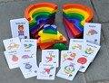 Nuevo juguete de madera del arco iris conjunto círculo match-a-picture juguete del bebé