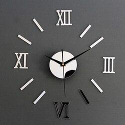 3D Modern DIY Interior Roman Wall Clock Wall Clock 3D Sticker Home Mirror Effect Wall Stickers