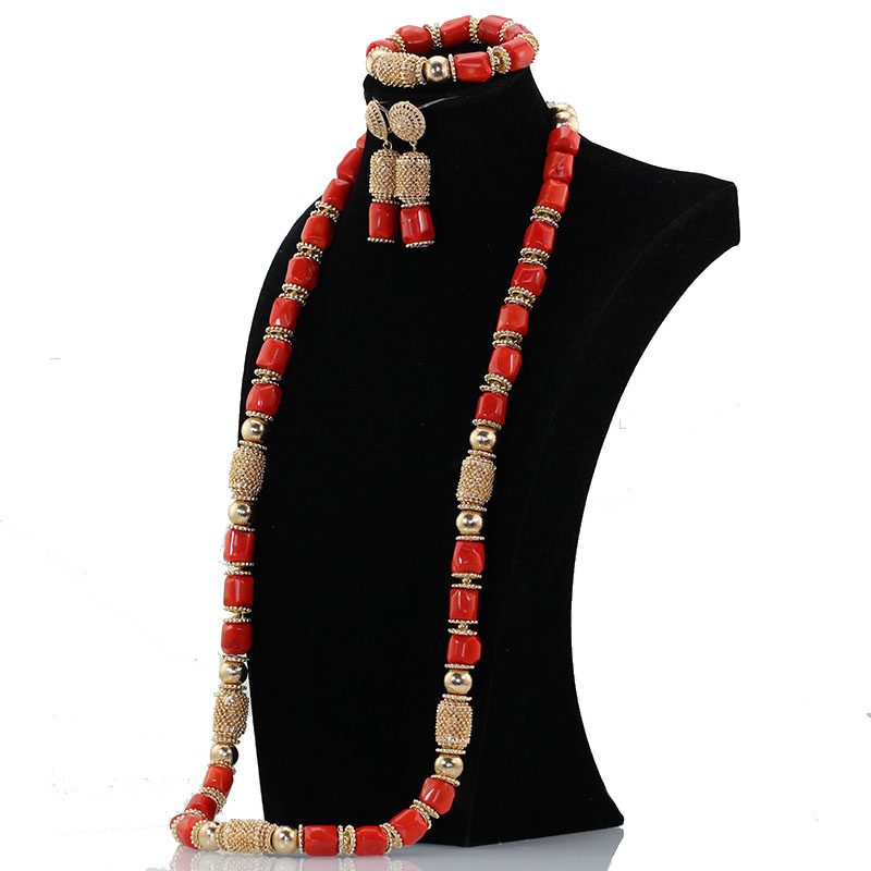 40 inches Coral Beads African Jewelry Fashion Necklace Set Dubai Gold Beaded Accessory Women Jewelry Set Brides Gift CNR17040 inches Coral Beads African Jewelry Fashion Necklace Set Dubai Gold Beaded Accessory Women Jewelry Set Brides Gift CNR170