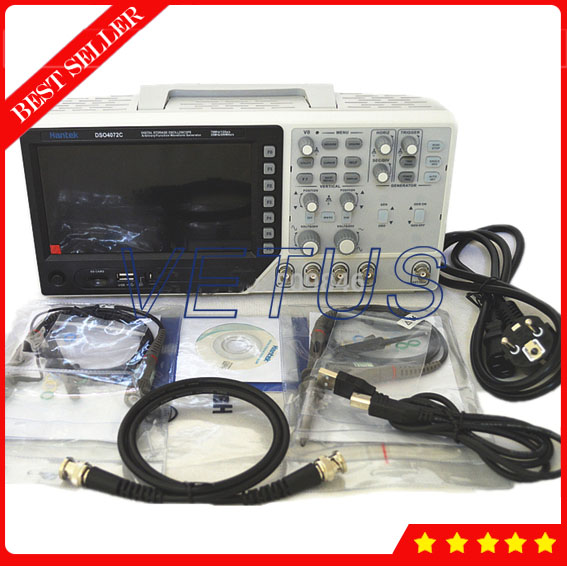 Hantek DSO4072C USB Spectrum Analyzer 2 Channels 70Mhz Digital Osciloscopio with digital oscilloscope waveform generator 1GSa/s