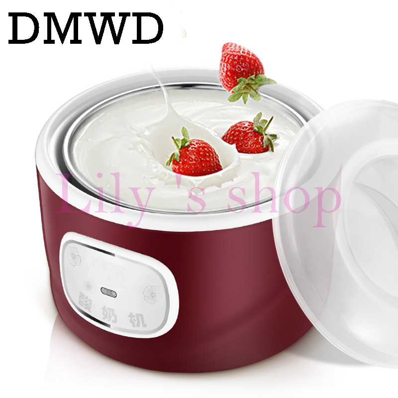 Full-Automatic Electric Yogurt Maker Stainless Steel Liner Container homemade rice wine maker Buttermilk Sour making machine 1L hot selling electric yogurt machine stainless steel liner mini automatic yogurt maker 1l capacity 220v
