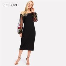 Colrovie черный с открытыми плечами рукавом из прозрачной сетки платье летние цветочные Женское платье 2018 с длинным рукавом Вышивка Sheath Dress