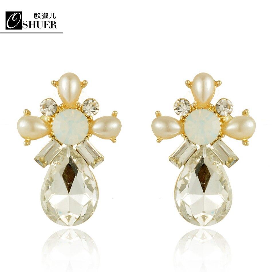 5d2f07243f2d Marca de alta calidad de cristal Pendientes oro color nueva moda agua gota  joyería Pendientes de broche encantadora para las mujeres