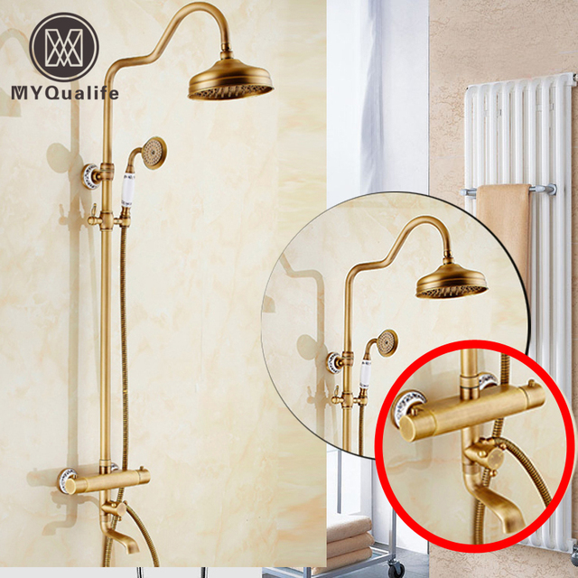 """2016 New Thermostatic 8"""" Rainfall Shower Faucet Dual Handle Taps Antique Brass Temperature Control Shower Mixer"""