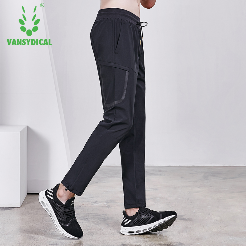 Vansydical Autumn Men's Sports Running Pants Zipper Pocket Gym Sweatpants Outdoor Fitness Workout Jogging Long Trousers slimming narrow feet zipper fly special cross print purfle pocket men s casual long pants