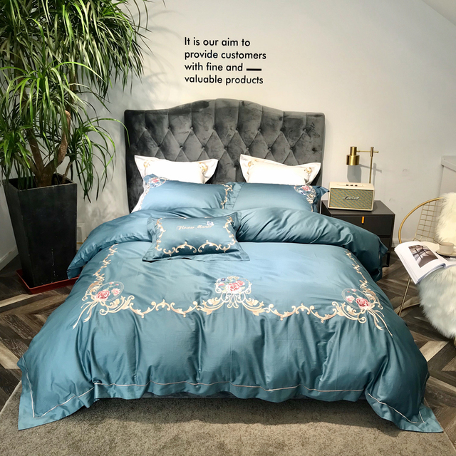 ed556b335457 2018 European Blue Bedlinens Embroidery Egyptian Cotton Bed Covers Queen  King Size Duvet Cover Set Bedsheet