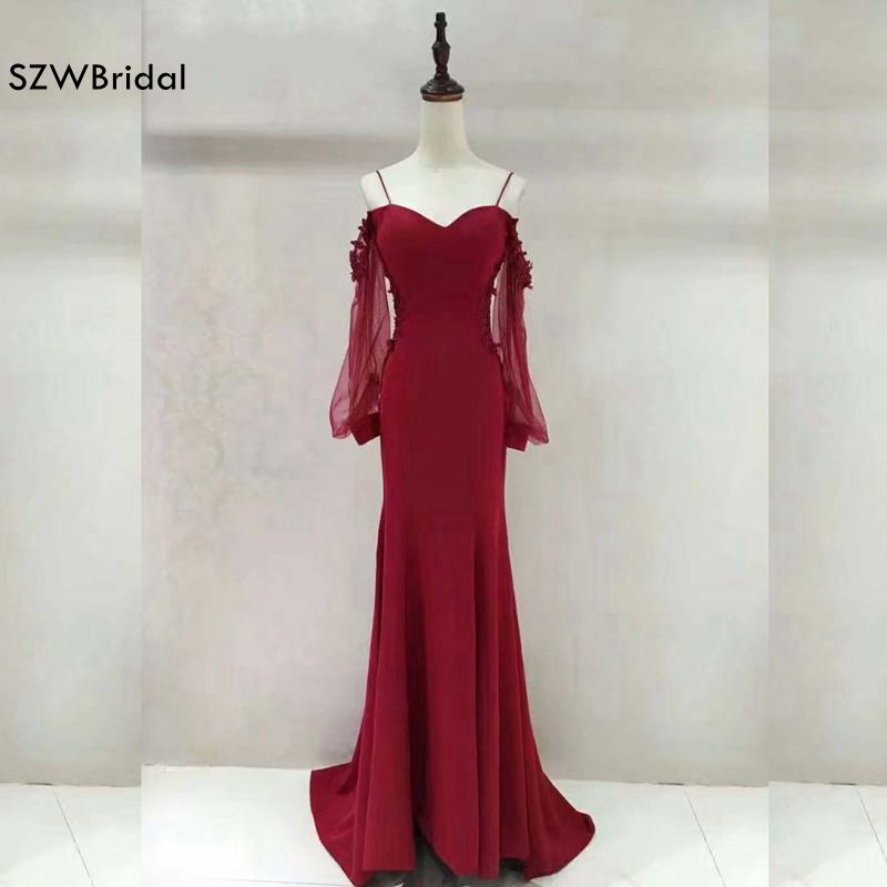 Robe de soiree Velvet Mermaid evening dresses 2019 Long sleeve Evening gowns Plus size abiye vestido de festa longo