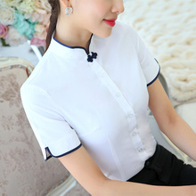 Plus Size Chinese Women cotton Blouses Shirt female Short Sleeve Mandarin Collar White Blouse Tops lady plus size Summer Clothes