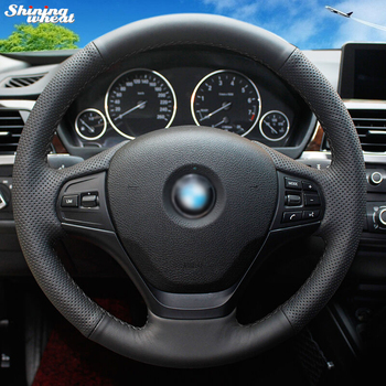 BANNIS Hand-stitched Black Genuine Leather Car Steering Wheel Cover for BMW F30 316i 320i 328i