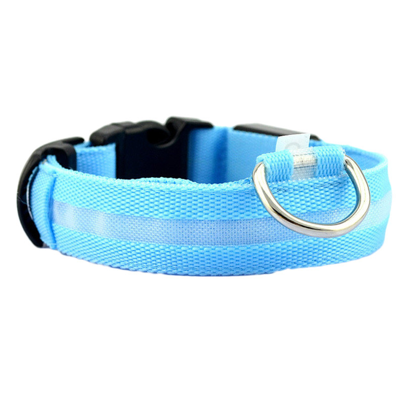 Fashion candy color LED Dog Collar Flashing In Dark Nylon 3 Mode Lighting Safety LED Pet Collar Wide Luminous Pet Products 12