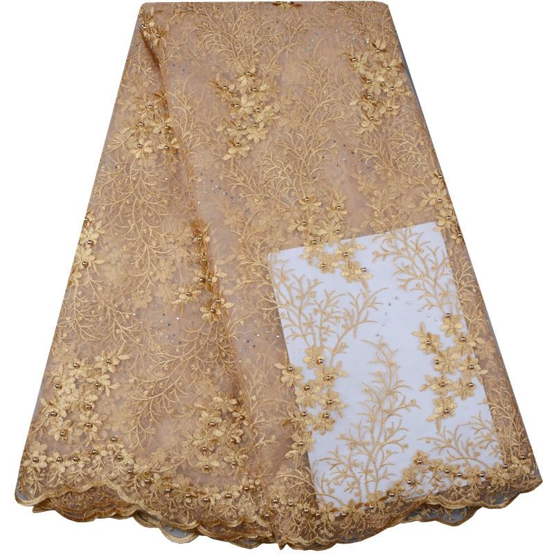 Fashionable Nigerian Lace Fabric Latest African Lace Fabric Gold French voile Lace Fabric For Wedding Dress