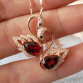 Cute swan shape natural garnet pendants solid 925 sterling silver natural gemstone necklace pendant romantic birthday gift