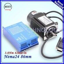 Nema24 Замкнутой Шагового Двигателя 4 провода 428oz-в 3.0nm D = 8 мм Nema 24 3Nm Замкнутый Цикл Шаговый Двигатель Servo Шагового Двигателя