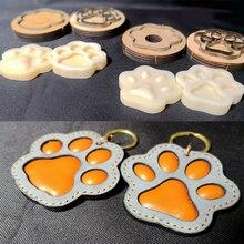 Ofício de couro cão gato pata chaveiro diy pingente forma modelagem molde plástico com corte molde plástico conjunto 75mm