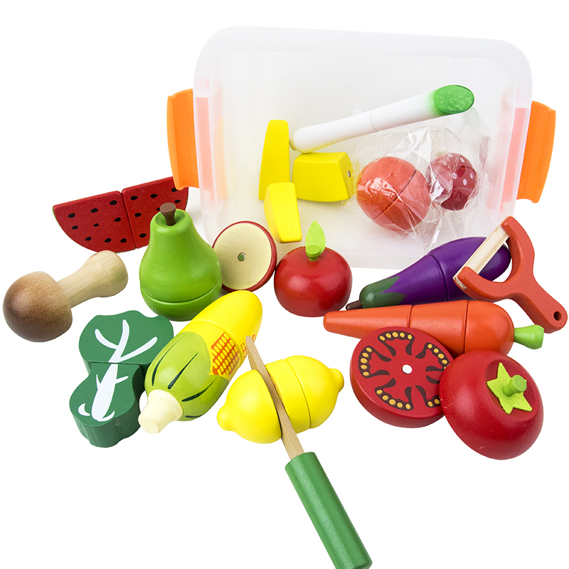 Wooden Kitchen Toys Pretend Play Kids Kitchen Set Cutting Magnetic Fruit Vegetable Miniature Food Girls Toys Educational Toys image